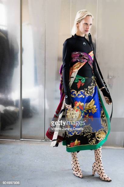 A model prepares backstage before the Marine Serre show as part of the Paris Fashion Week Womenswear Fall/Winter 2018/2019 on February 27 2018 in...