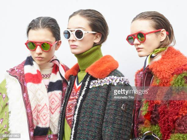 Model prepares backstage before the Moncler Gamme Rouge show as part of the Paris Fashion Week Womenswear Fall/Winter 2017/2018 on March 7, 2017 in...