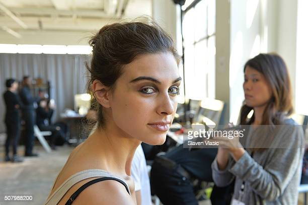 Model prepares backstage during Backstage with AXE at NYFW: Men's on February 2, 2016 in New York City.