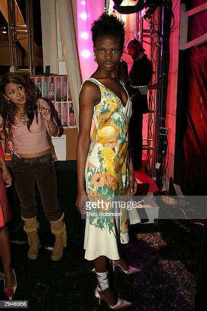 A model prepares backstage during Olympus Fashion Week at Bryant Park February 8 2004 in New York City