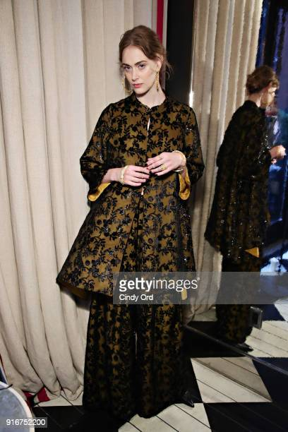 A model prepares backstage during the Jasmine Chong x GBGH Fall 2018 New York Fashion Week Presentation at Baccarat Hotel on February 10 2018 in New...
