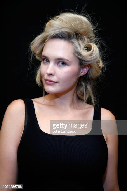 A model prepares backstage for 11 Honore during New York Fashion Week The Shows at Gallery I at Spring Studios on February 6 2019 in New York City