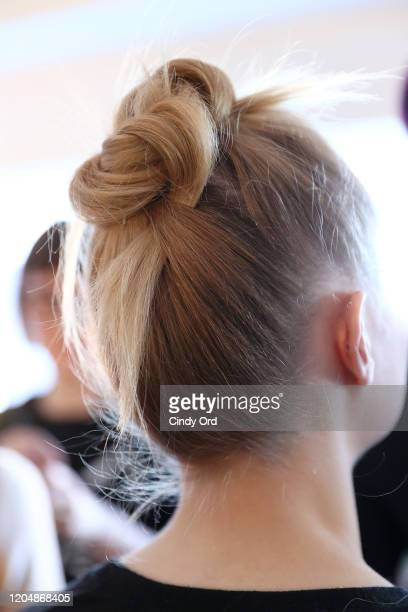 Model prepares backstage for Badgley Mischka during New York Fashion Week: The Shows at Gallery I at Spring Studios on February 08, 2020 in New York...