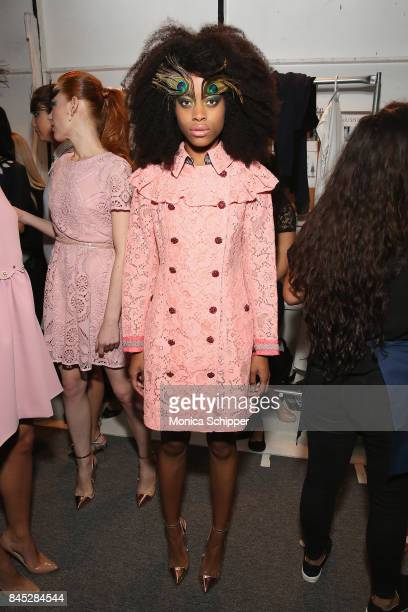 A model prepares backstage for Dan Liu fashion show during New York Fashion Week The Shows at Gallery 3 Skylight Clarkson Sq on September 10 2017 in...