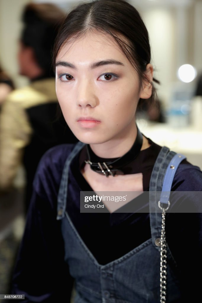 A model prepares backstage for Dennis Basso fashion show during New York Fashion Week: The Shows at The Plaza Hotel on September 11, 2017 in New York City.