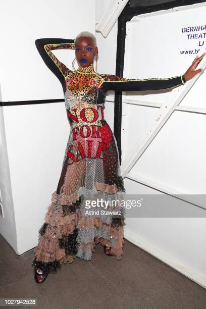 A model prepares backstage for the Discount Universe show during New York Fashion Week The Shows at Gallery II at Spring Studios on September 6 2018...