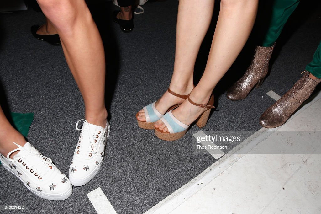 A model (shoes detail) prepares backstage for the Marcel Ostertag fashion show during New York Fashion Week: The Shows at Gallery 3, Skylight Clarkson Sq on September 13, 2017 in New York City.