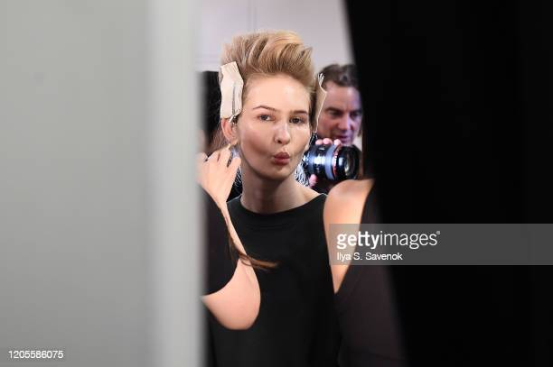 Model prepares backstage for the Taoray Wang fashion show during February 2020 - New York Fashion Week: The Shows at Gallery II at Spring Studios on...