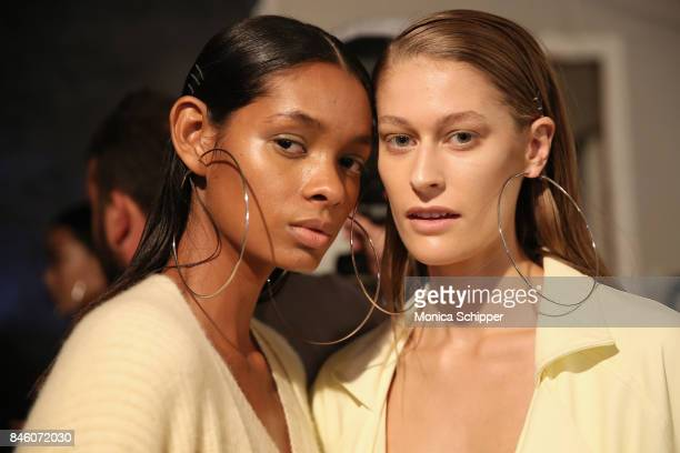 A model prepares backstage for TRESemme at Sally La Pointe NYFW SS18 on September 12 2017 in New York City