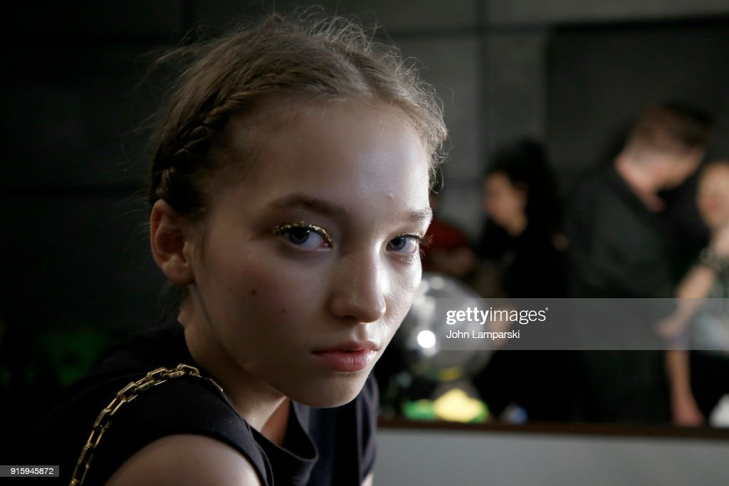 A model prepares backstage for Ulla Johnson during New York Fashion Week: The Shows at Gallery II at Spring Studios on February 8, 2018 in New York City.