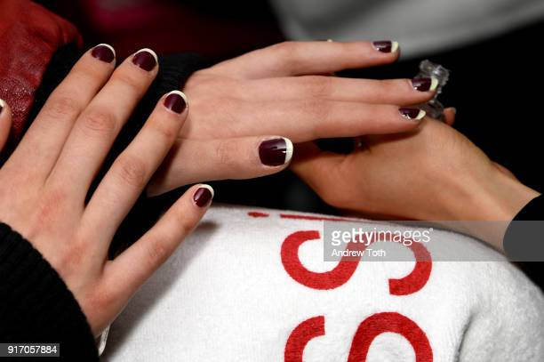 A model prepares backstage nail detail for Tanya Taylor presentation during New York Fashion Week The Shows at Gallery II at Spring Studios on...