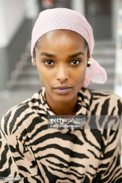 Model prepares backstage prior to the Coperni show as part of the Paris Fashion Week Womenswear Fall/Winter 2021/2022 on March 04, 2021 in Paris,...