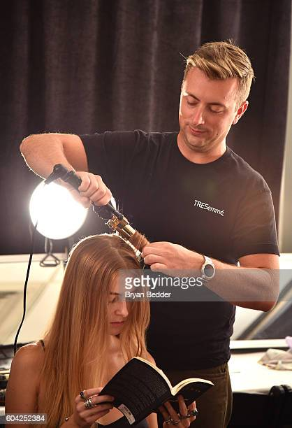 Model prepares backstage with hair styled by TRESemme products at New York fashion week at The Gallery, Skylight at Clarkson Sq on September 13, 2016...