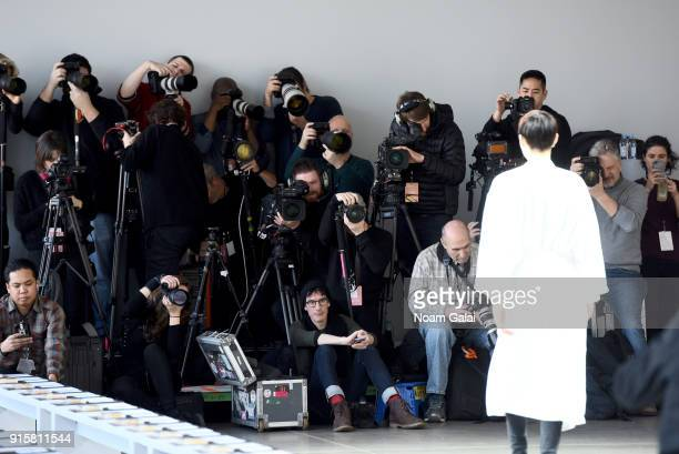 A model prepares before the show for Noon By Noor during New York Fashion Week The Shows at Gallery II at Spring Studios on February 8 2018 in New...