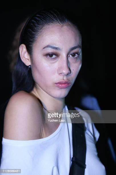 Model prepares for John Elliott Backstage at February 2019 - New York Fashion Week: The Shows on February 09, 2019 in New York City.