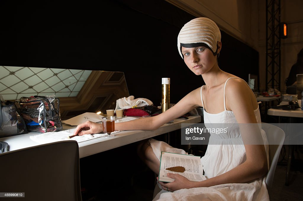 A Model prepares prior the Anrealage show as part of the Paris Fashion Week Womenswear Spring/Summer 2015 on September 23, 2014 in Paris, France.