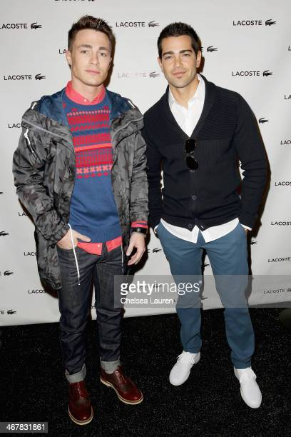 A model preparesColton Haynes and Jesse Metcalfe backstage at the Lacoste fashion show during MercedesBenz Fashion Week Fall 2014 at The Theatre at...