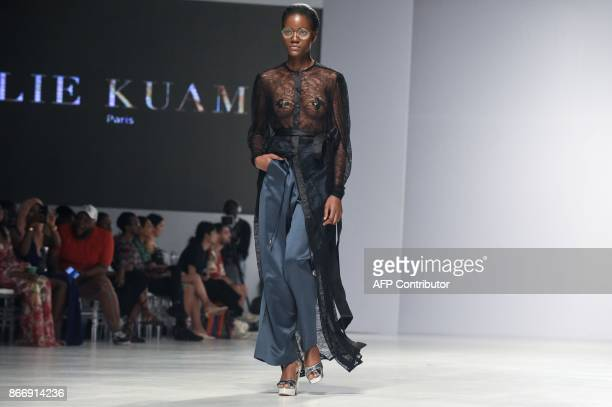 Model present a creation by Elie Kuame during the Lagos Fashion and Design Week in Lagos, on October 26, 2017. The yearly Lagos Fashion and Design...