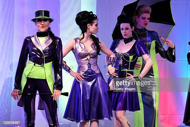 AUGUST 21 Model present latest chicque in rubber fashion of label Rosengarn during a fashion show at the Latexpo 2010 at the Edelfettwerk on August...