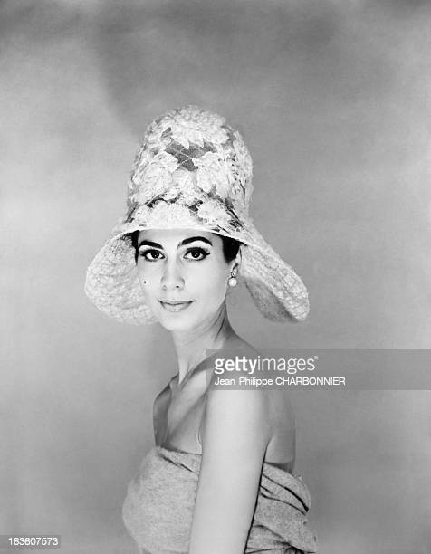Model presenting a hat designed by French fashion designer Pierre Cardin in May 1961 in Paris France