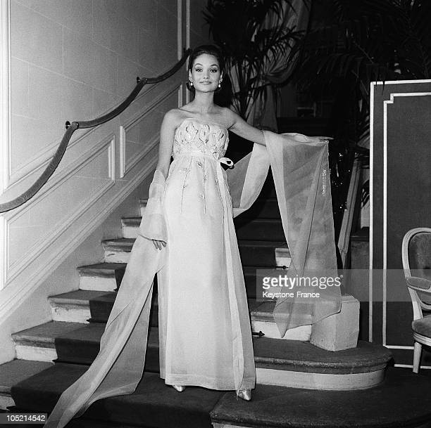 Model Presenting A Item From The SpringSummer Collection By Christian Dior In Paris On February 16 1962 The Dress Here Is Pink And Embroidered With...