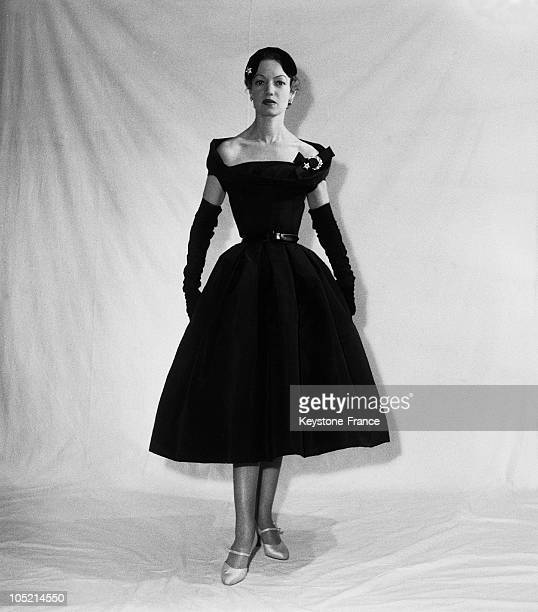 Model Presenting An Evening Dress Created By The Great Designer Christian Dior In Paris In 1955