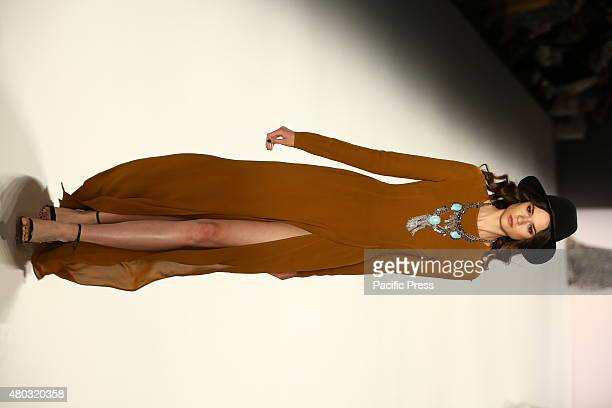 Model presenting the Dimitri creations at Mercedes-Benz Spring/Summer 2016 Collection of Fashion Week Berlin.