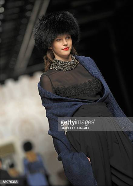 A model presents a creation as part of Italian fashion house Elena Miro Fall/Winter 20092010 readytowear collection on February 25 2009 during the...