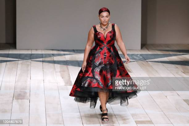 Model presents a creation by Alexander McQueen during the Women's Fall-Winter 2020-2021 Ready-to-Wear collection fashion show in Paris, on March 2,...