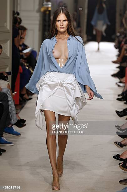 A model presents a creation by Alexis Mabille during the 2015 Spring/Summer readytowear collection fashion show on September 24 2014 in Paris AFP...