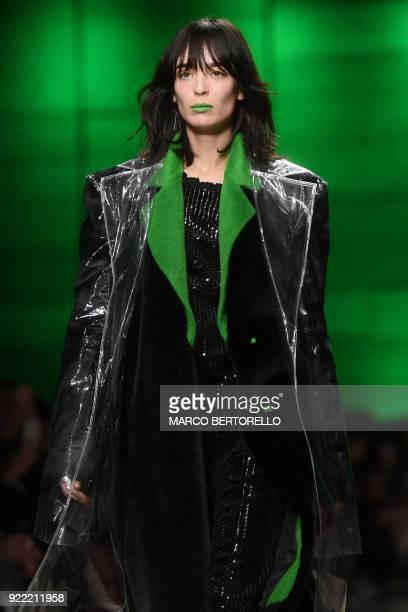 A model presents a creation by Annakiki during the women's Fall/Winter 2018/2019 collection fashion show in Milan on February 21 2018 / AFP PHOTO /...