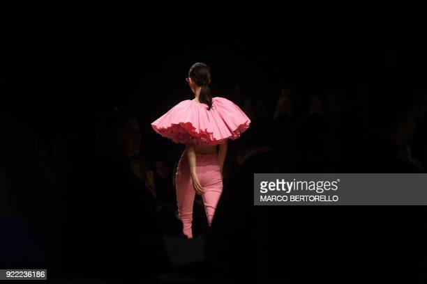 TOPSHOT A model presents a creation by Annakiki during the women's Fall/Winter 2018/2019 collection fashion show in Milan on February 21 2018