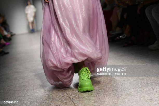 A model presents a creation by Annakiki during the Women's Spring/Summer 2019 fashion show in Milan on September 19 2018