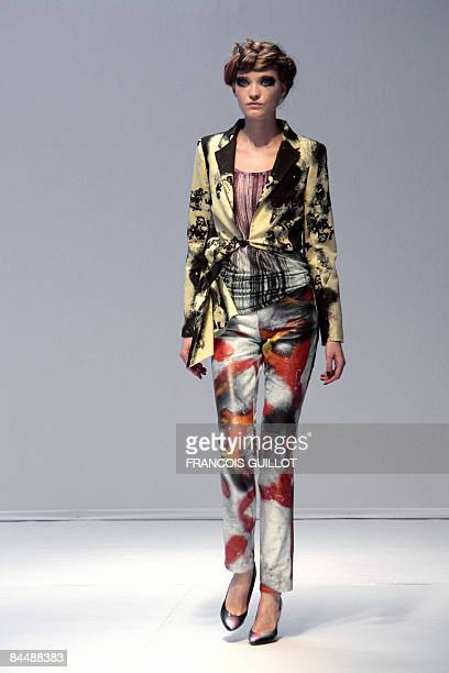 A model presents a creation by Australian designer Cathy Pill during a Spring/Summer 2009 Haute Couture collection show in Paris on January 27 2009...