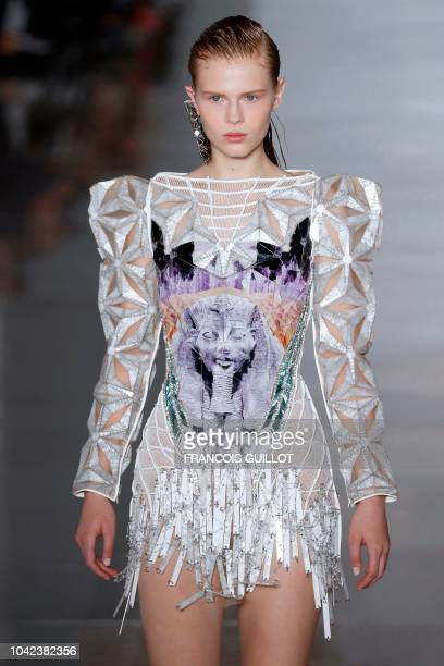 A model presents a creation by Balmain during the SpringSummer 2019 ReadytoWear collection fashion show in Paris on September 28 2018