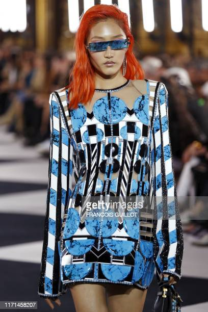 TOPSHOT A model presents a creation by Balmain during the Women's SpringSummer 2020 ReadytoWear collection fashion show at Opera Garnier in Paris on...