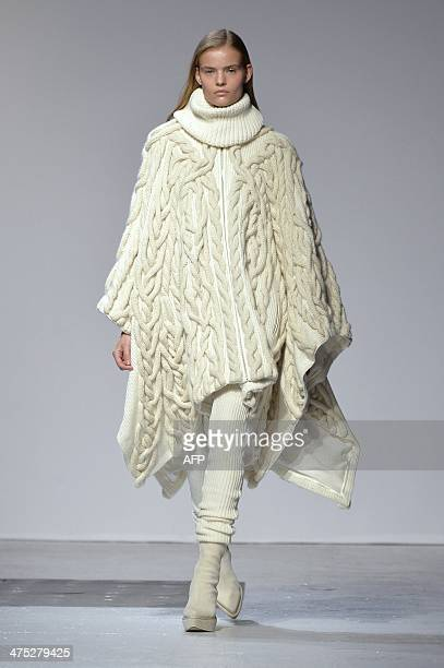 A model presents a creation by Barbara Bui during the 2014/2015 Autumn/Winter readytowear collection fashion show on February 27 2014 in Paris AFP...