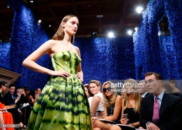 Model presents a creation by Belgian designer Raf Simons for Christian Dior during the Haute Couture Fall-Winter 2012-2013 on July 2, 2012 in Paris....