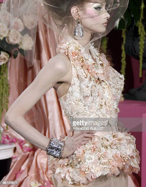 A model presents a creation by British designer John Galliano for Christian Dior during the springsummer 2010 haute couture collection show on...