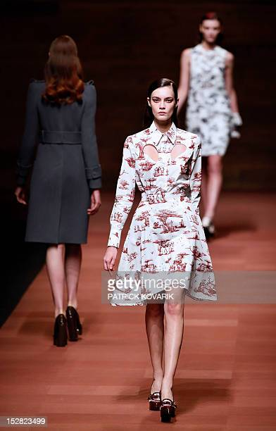 A model presents a creation by Carven during the Spring/Summer 2013 readytowear collection show on September 27 2012 in Paris AFP PHOTO/PATRICK...
