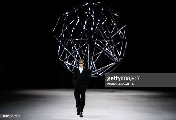 TOPSHOT A model presents a creation by Celine during the men's ready to wear fashion shows for the 2019/20 Fall/Winter collection in Paris on January...