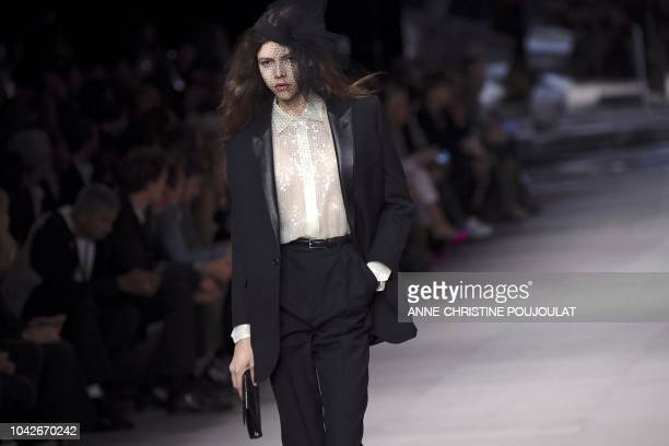 A model presents a creation by Celine during the SpringSummer 2019 ReadytoWear collection fashion show in Paris on September 28 2018