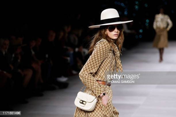 Model presents a creation by Celine during the Women's Spring-Summer 2020 Ready-to-Wear collection fashion show, in Paris on September 27, 2019.
