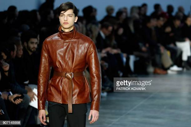 A model presents a creation by Cerrutti during the men's Fashion Week for the Fall/Winter 2018/2019 collection in Paris on January 19 2018 / AFP...