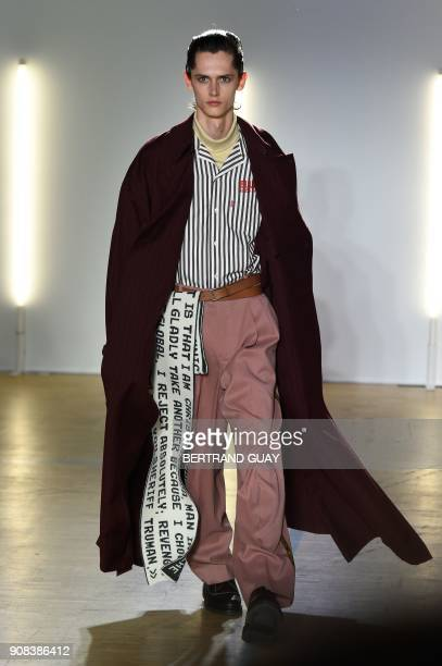 A model presents a creation by Christian Dada during the men's Fashion Week for the Fall/Winter 2018/2019 collection in Paris on January 21 2018 /...