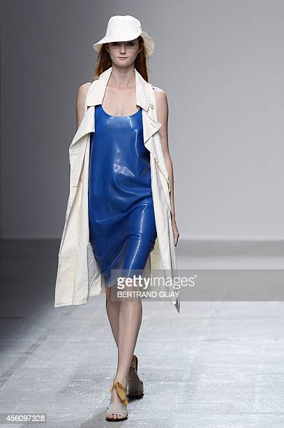 A model presents a creation by Christian Wijnants during the 2015 Spring/Summer readytowear collection fashion show on September 25 2014 in Paris AFP...