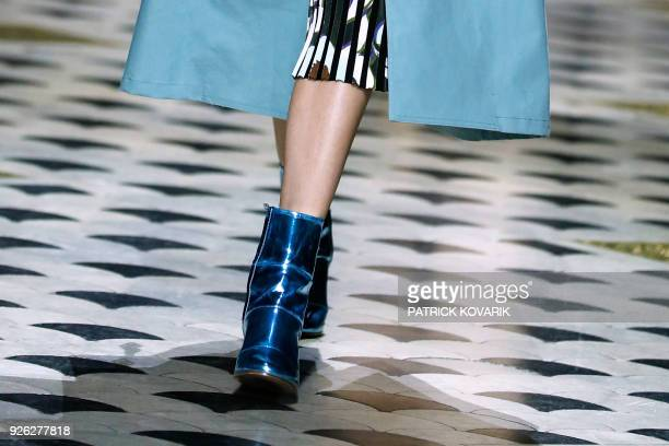 A model presents a creation by Christian Wijnants during the 2018/2019 fall/winter collection fashion show on March 2 2018 in Paris