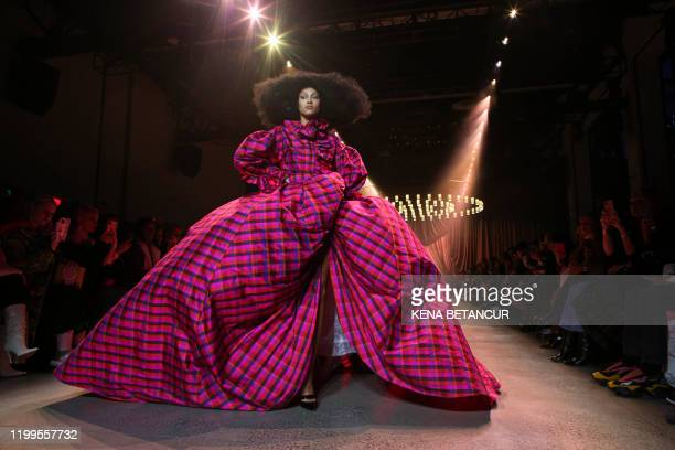 Model presents a creation by Christopher John Rogers during New York Fashion Week at Spring Studios on February 8, 2020 in New York City.