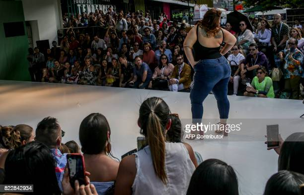 TOPSHOT A model presents a creation by Colombian brand Elena Plus Clothing at Colombiamoda during Medellin´s fashion week in Itagui municipality near...