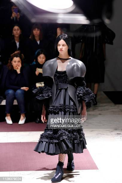 Model presents a creation by Comme des Garcons during the Women's Fall-Winter 2019/2020 Ready-to-Wear collection fashion show in Paris, on March 2,...